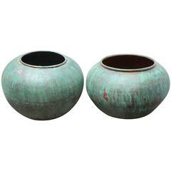 Antique Verdigris Copper Jars