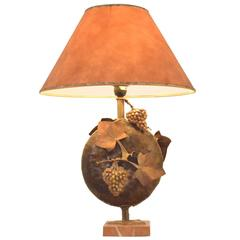 """French Ateliers Ruyc """"Vineyard"""" Brass Fruits & Rosé Marble Base Table Lamp"""