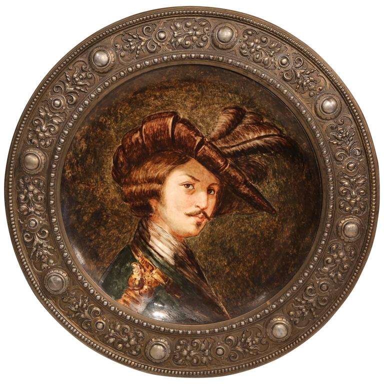 19th Century German Painted Porcelain Round Platter with Repoussé Pewter Frame