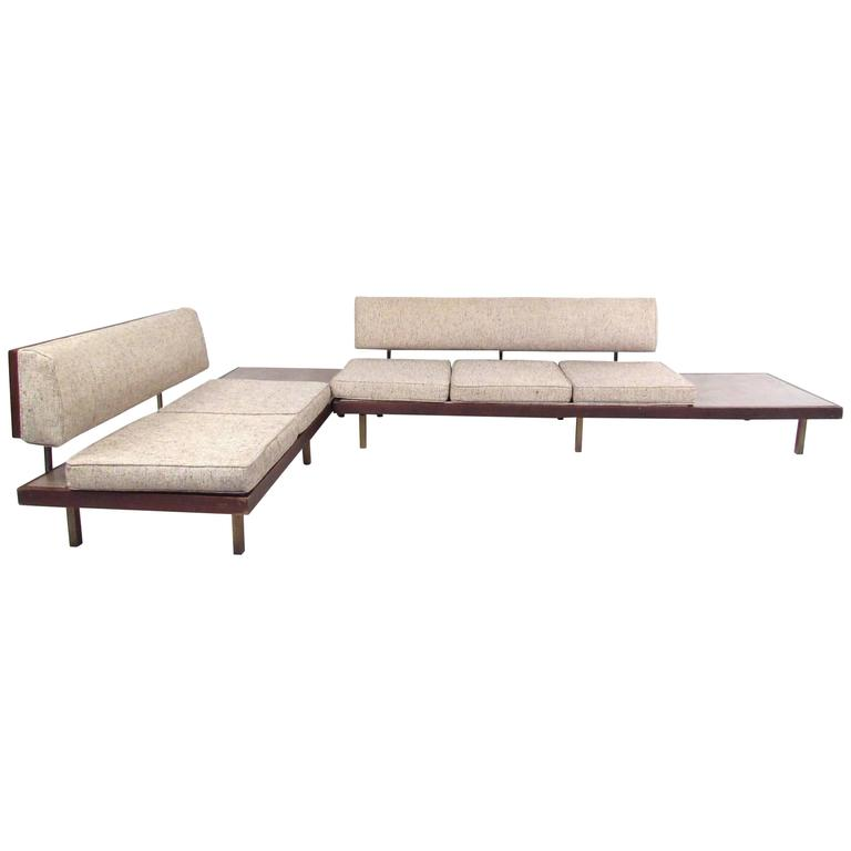 Pair of Mid-Century Modern Sofas with End Tables