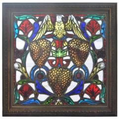 Antique Stained Glass Window with Hand-Painted Eagle and Grape Clusters, Framed
