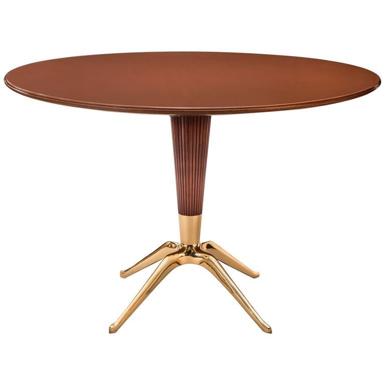 Melchiorre Bega, Italian Mahogany, Brass & Glass Circular Dining / Center Table