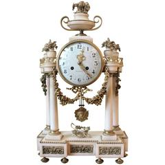 Tiffany Marble and Ormolu-Mounted French Clock