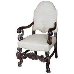 19th Century Hand-Carved French Walnut Louis XIV Armchair with Arched Back