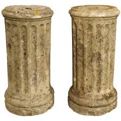 Pair of Small Period Louis XVI Stone Columns, circa 1785