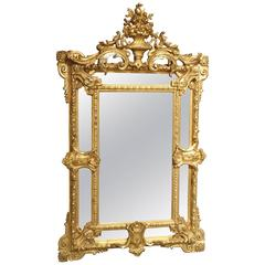 Antique Gilded Louis XV Style Mirror, 19th Century