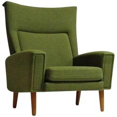 Danish Highback Lounge Chair in Green Fabric