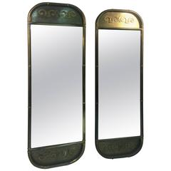 Magnificent Pair of Mastercraft Full-Length Brass Oblong Wall Mirrors