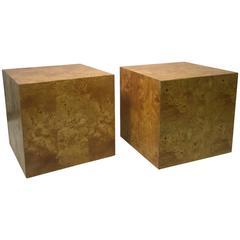 Pair of Marvelous Milo Baughman Burl Wood Cube-Shaped Side Tables
