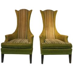 Unusual Pair of High Back Chairs by Adrian Pearsall & in the Style of Parzinger