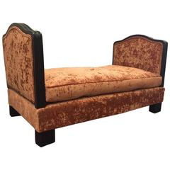 French Leather Daybed With Reclining Sides At 1stdibs