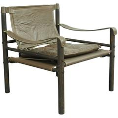 "1960s Arne Norell ""Sirocco"" Brown Leather and Rosewood Safari Chair"