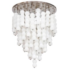 Italian Venetian, Chandelier, blown Murano Glass, White Chains, Mazzega, 1990s