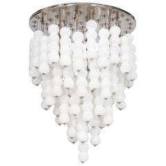 Italian Chandelier in White Murano Glass, Mazzega, 1980s