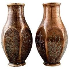 Pair of Art Deco Tinos Bronze Vases in Massive Patinated Bronze, 1930s
