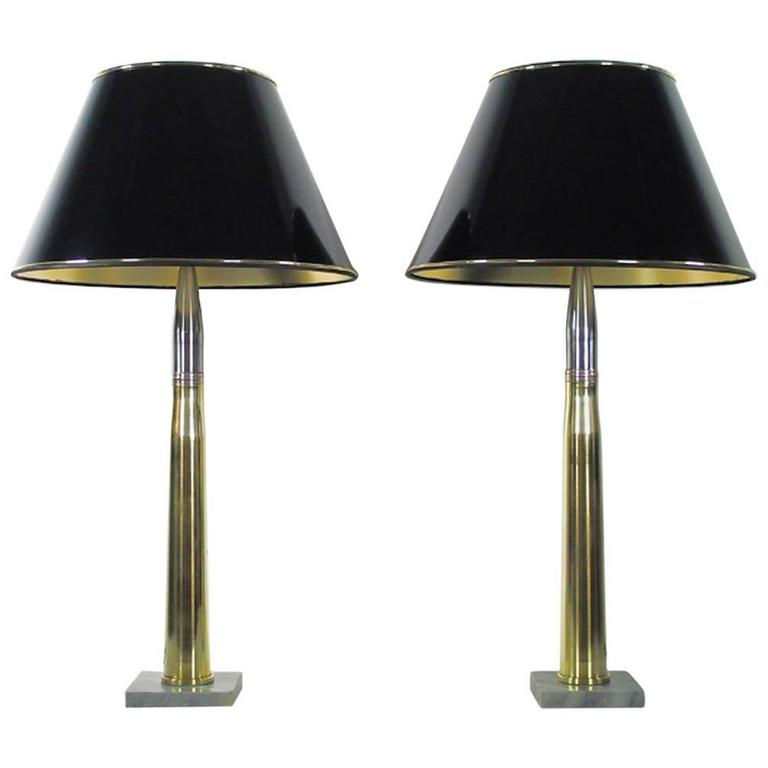 Pair of Brass Artillery Shell Case Table Lamps