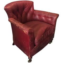 19th Century Howard & Sons Red Leather Armchair