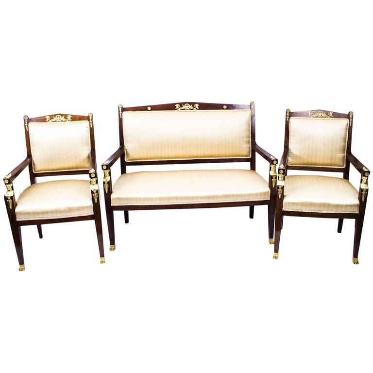 Antique French Empire Revival Mahogany Three-Piece Salon Suite  19th C For Sale