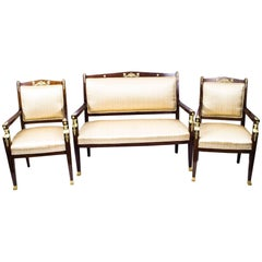 Antique French Empire Revival Mahogany Three-Piece Salon Suite  19th C