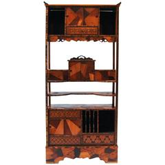 Edo Period Japanese Cabinet with Precious Wood Inlays
