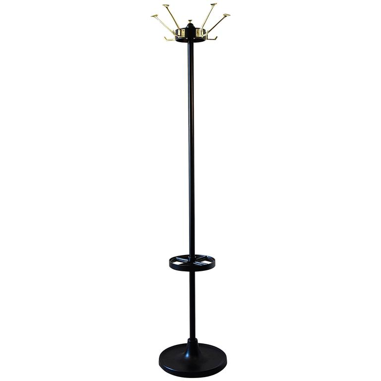 Black Art Deco Coat Stand With Polished Br Hooks For