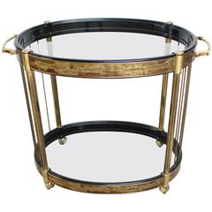 Bernhard Rohne for Mastercraft Etched Brass Two-Tier Bar Cart