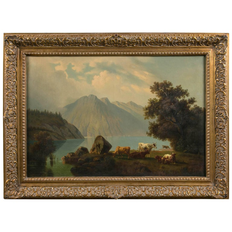 Large Antique Painting of Cows in Pasture