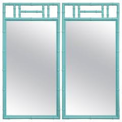 Got Gorgeous? a Jewel of a Pair, Tiffany Blue Bamboo Form Mirrors, Hollywood