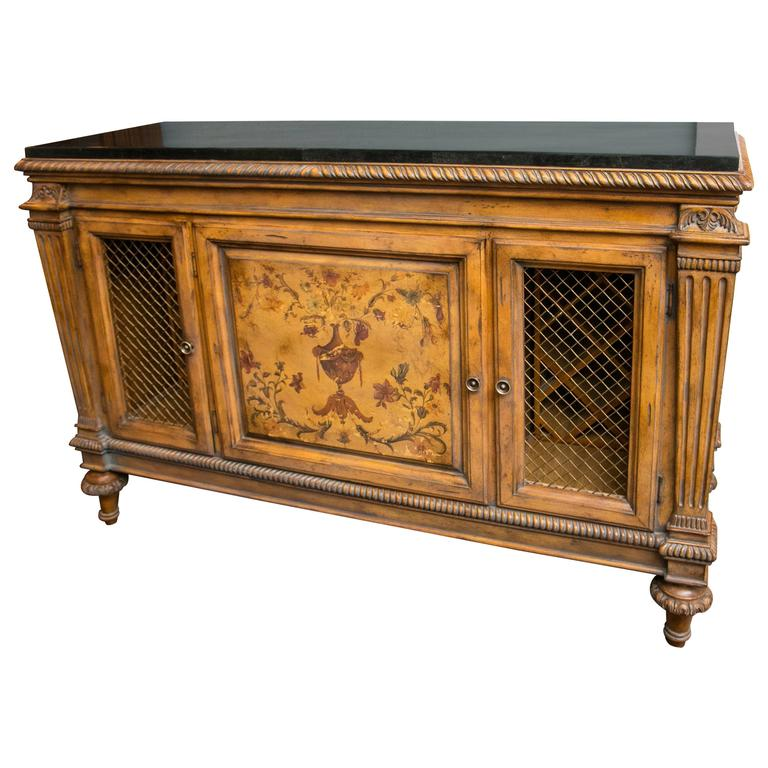 Fantastic Adamu0027s Style Marble Top Wine Cabinet And Buffet For Sale