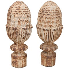 19th Century French Iron Pineapple Finials