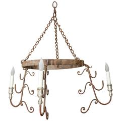 Italian Single Tier Iron Chandelier with Three Lights, Silver Leaf Bobeches