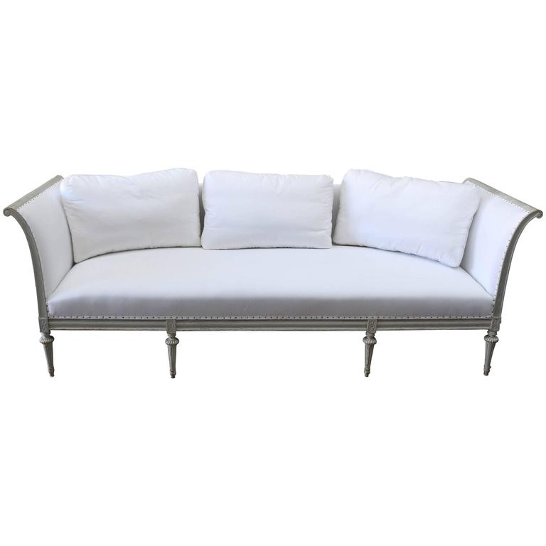 19th Century Gustavian Style Original Pale Green Painted Sofa from Sweden For Sale