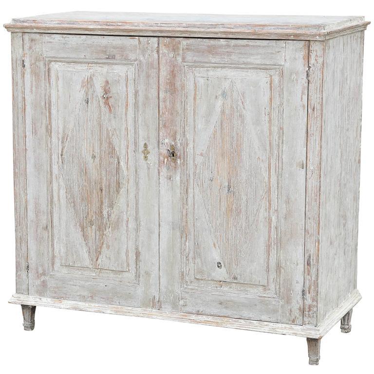 Gustavian Swedish 19th Century Buffet Scraped to Original Pale Blue Paint For Sale