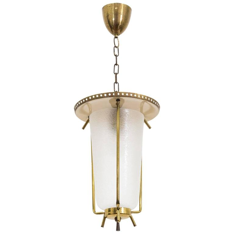 Austrian Brass and Textured Glass Lantern, 1950s