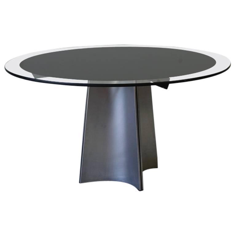 Round Glass Table by Luigi Saccardo, 1970s