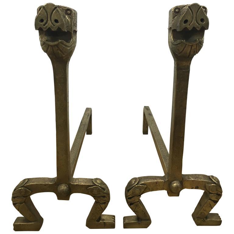 Pair of Gilt Bronze Dog Motif Andirons