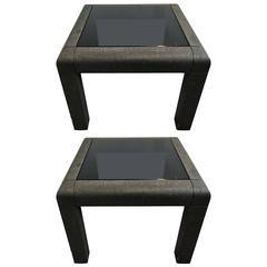 Spectacular Pair of Karl Springer Gunmetal Grass Cloth Tables with Black Glass