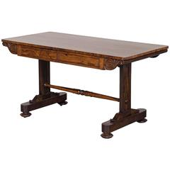 Antique English William IV Rosewood Library Table, circa 1835