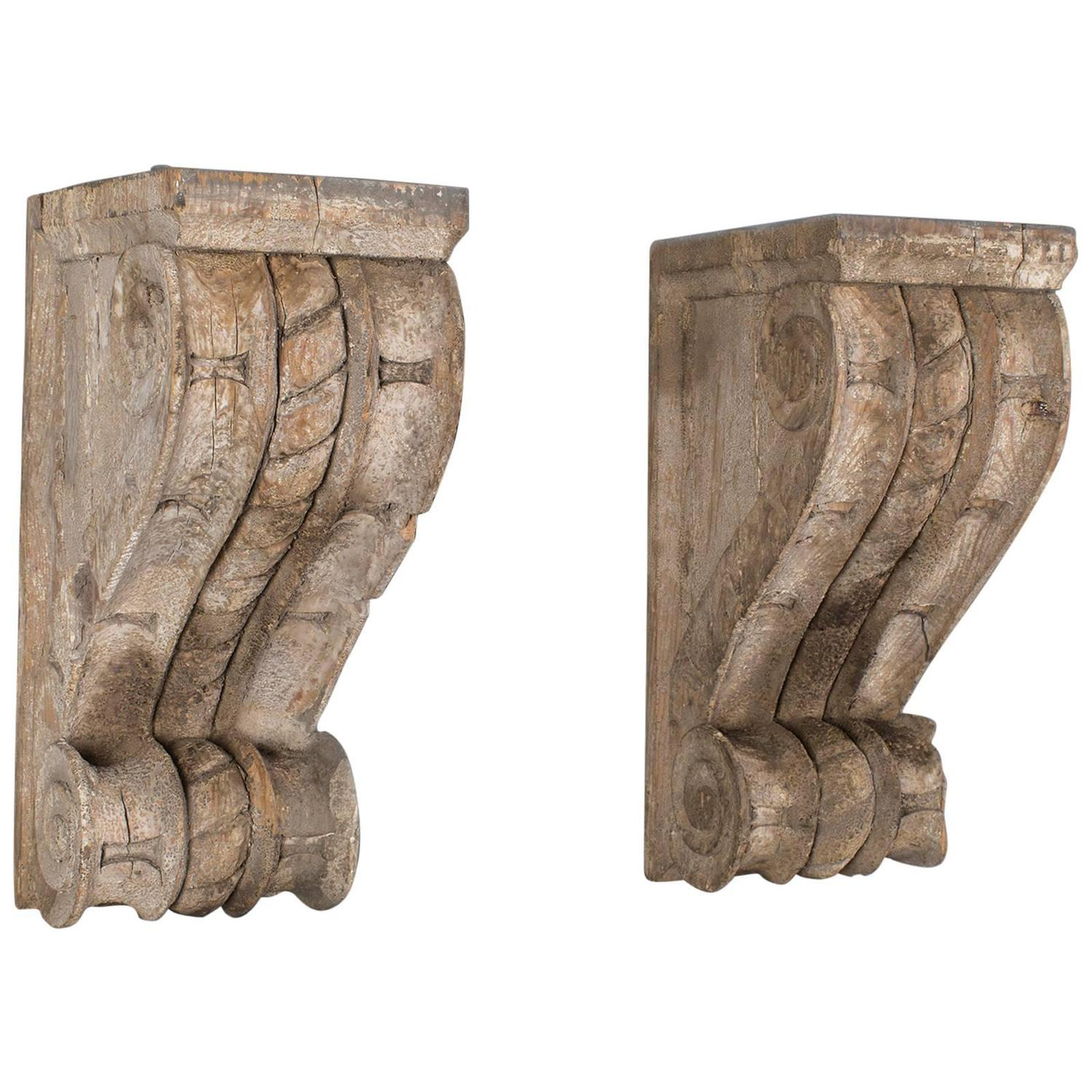 Pair Of Antique French Wall Brackets Corbels Circa 1850
