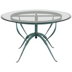 Art Deco French Painted Iron Table, circa 1930, Raymond Subes, Maison Dominique
