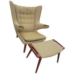 Hans Wegner Papa Bear Chair and Ottoman by A.P. Stolen