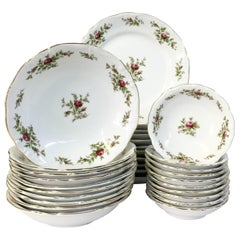 "20th Century Porcelain Dinnerware ""Moss Rose"" By, Haviland S/31"