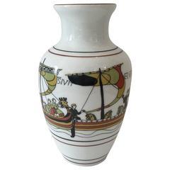 French Limoges Viking Motif Porcelain Vase by Bayeux
