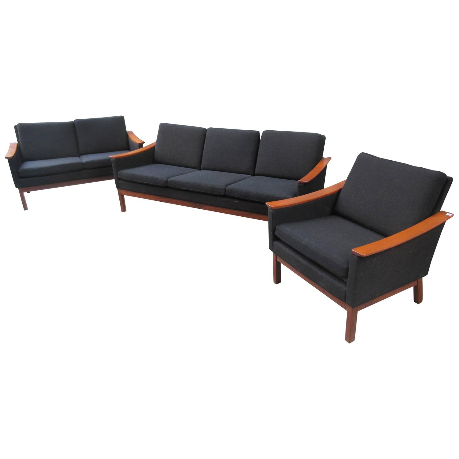 Teak Norwegian Suite Of Living Room Seating For Sale At
