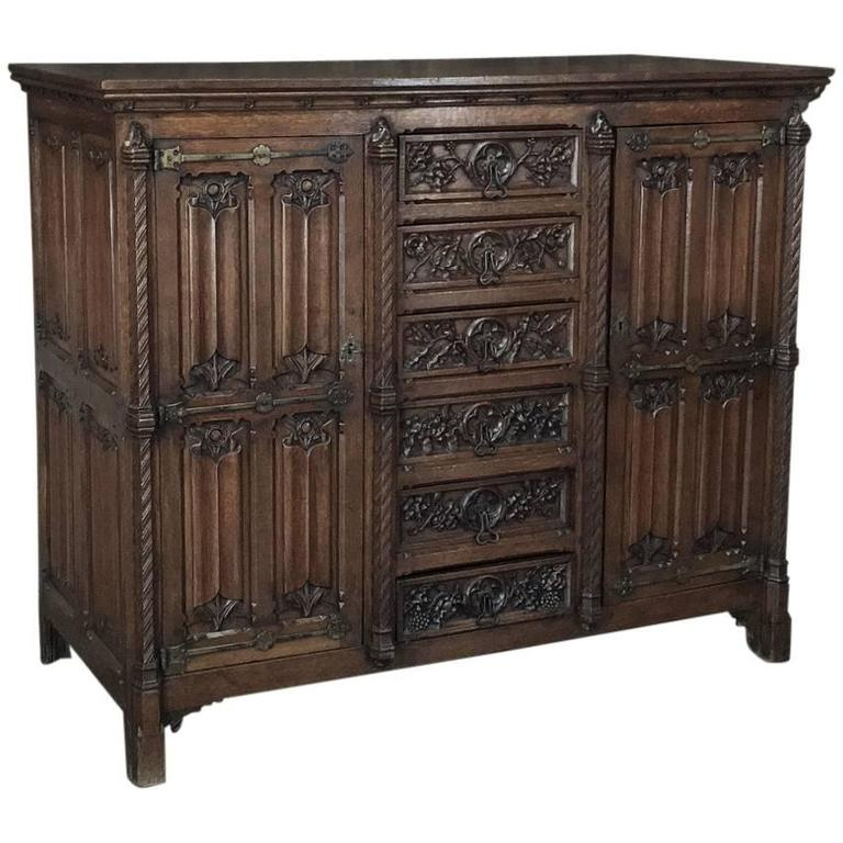 19th Century French Gothic Revival Cabinet, Buffet at 1stdibs