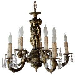 Italian Bronze Ten-Light Figural Chandelier