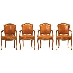 Louis XV Style Armchairs in Original Leather, Set of Four