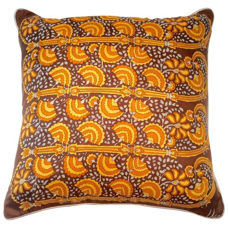1960'S Custom Made Vera Silk Scarf Pillow