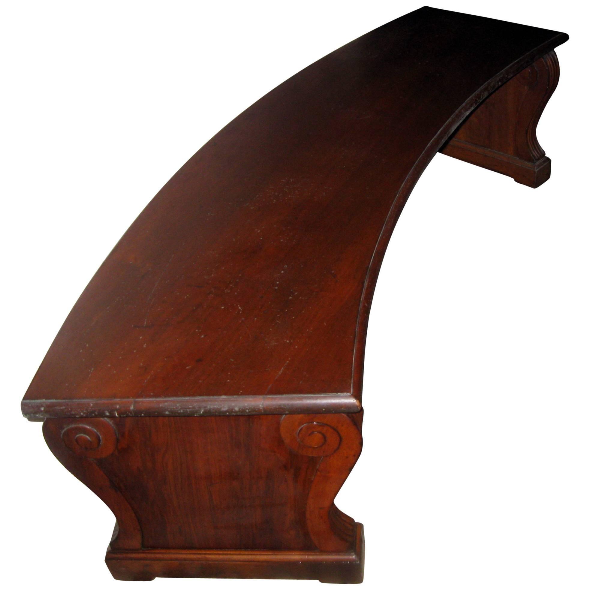19th century Regency Period Curved Walnut Bench