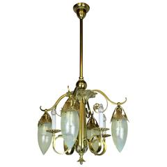 Victorian Gas Electric Chandelier with Striped Opalescent Art Glass Shades